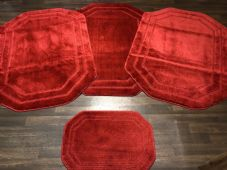 ROMANY WASHABLES NICE DESIGN SET OF 4 MATS XLARGE SIZE 100X140CM RED NON SLIP